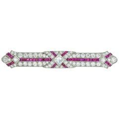 Art Deco Ruby and Diamond Bar Brooch