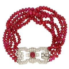 Art Deco Ruby and Diamond Beaded Bracelet with a Platinum Clasp