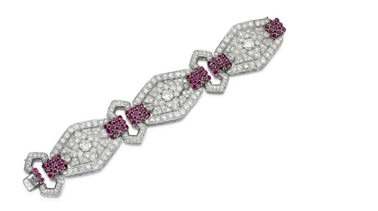 Round Cut Art Deco Ruby and Diamond Bracelet For Sale