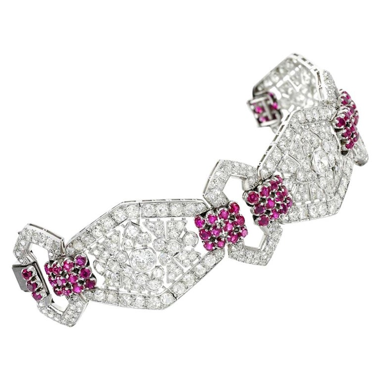 Art Deco Ruby and Diamond Bracelet For Sale