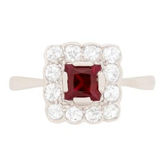 Art Deco Ruby and Diamond Cluster Ring, circa 1920s