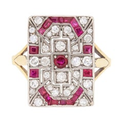 Art Deco Ruby and Diamond Cocktail Ring, circa 1930s