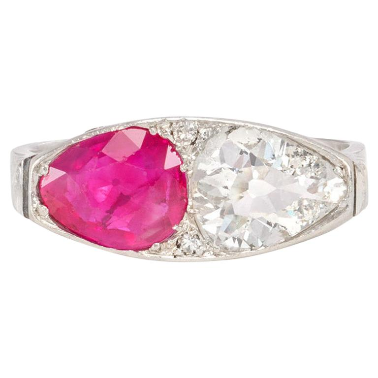 Art Deco Ruby and Diamond Navette-Shaped Ring in Platinum