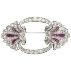 Art Deco Ruby and Diamond Platinum Brooch