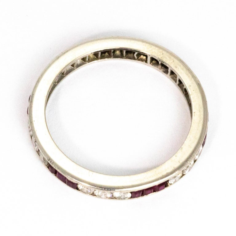Art Deco Ruby and Diamond Platinum Eternity Band In Good Condition For Sale In Chipping Campden, GB