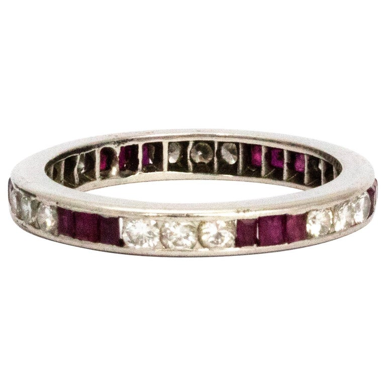 Art Deco Ruby and Diamond Platinum Eternity Band For Sale