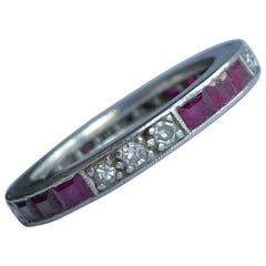 Art Deco Ruby and Diamond Platinum Full Eternity Band