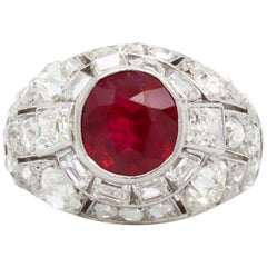 Art Deco Burmese Ruby and Diamond Ring, 1920s