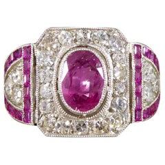 Art Deco Ruby and Diamond Ring in Platinum and Original Box