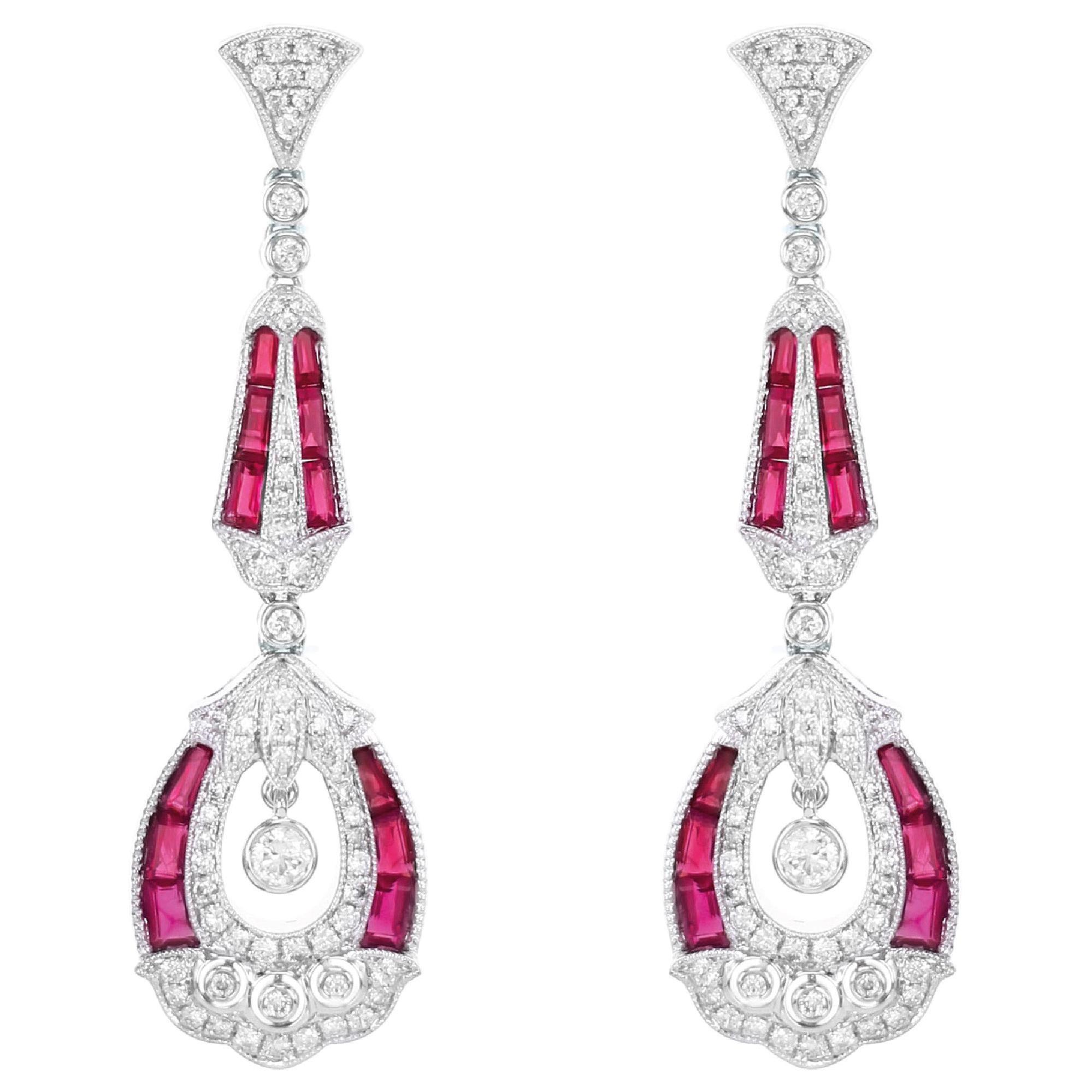 Art Deco Style Ruby Diamond Dangle Cocktail Earring 18 Karat White Gold