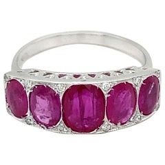 Art Deco Ruby Diamond Gold Band Ring