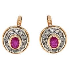 Art Deco Ruby Diamond Gold Cluster Earrings
