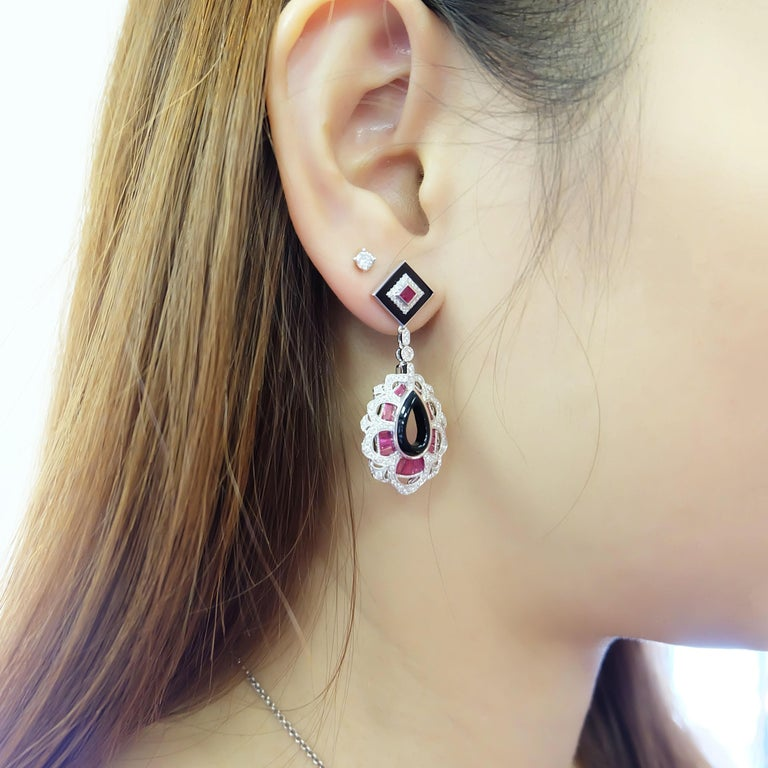 Art Deco Style Ruby Diamond Onyx Dangle Cocktail Earring For Sale 1