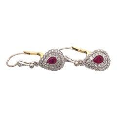 Art Deco Ruby Diamond Platinum 18k Gold Dangle Drop Earrings