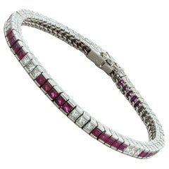 Art Deco Ruby Diamond Platinum Bracelet
