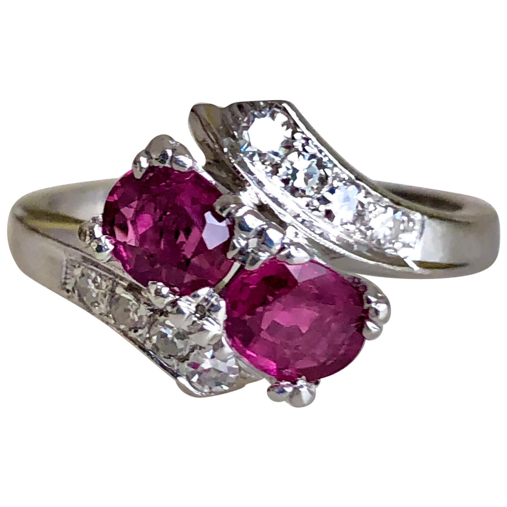 Art Deco Style Ruby Diamond Platinum Engagement Ring