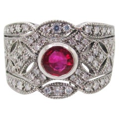 Art Deco Style Ruby Diamond Platinum Filigree Band