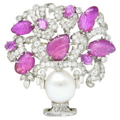 Art Deco Ruby Diamond Platinum Giradinetto Flower Brooch