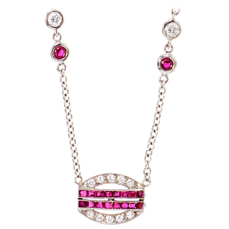 Art Deco Ruby Diamond Platinum Pendant Necklace  For Sale