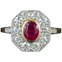 Art Deco Ruby Diamond Ring 18 Carat Gold 0.65 Carat Ruby, circa 1930