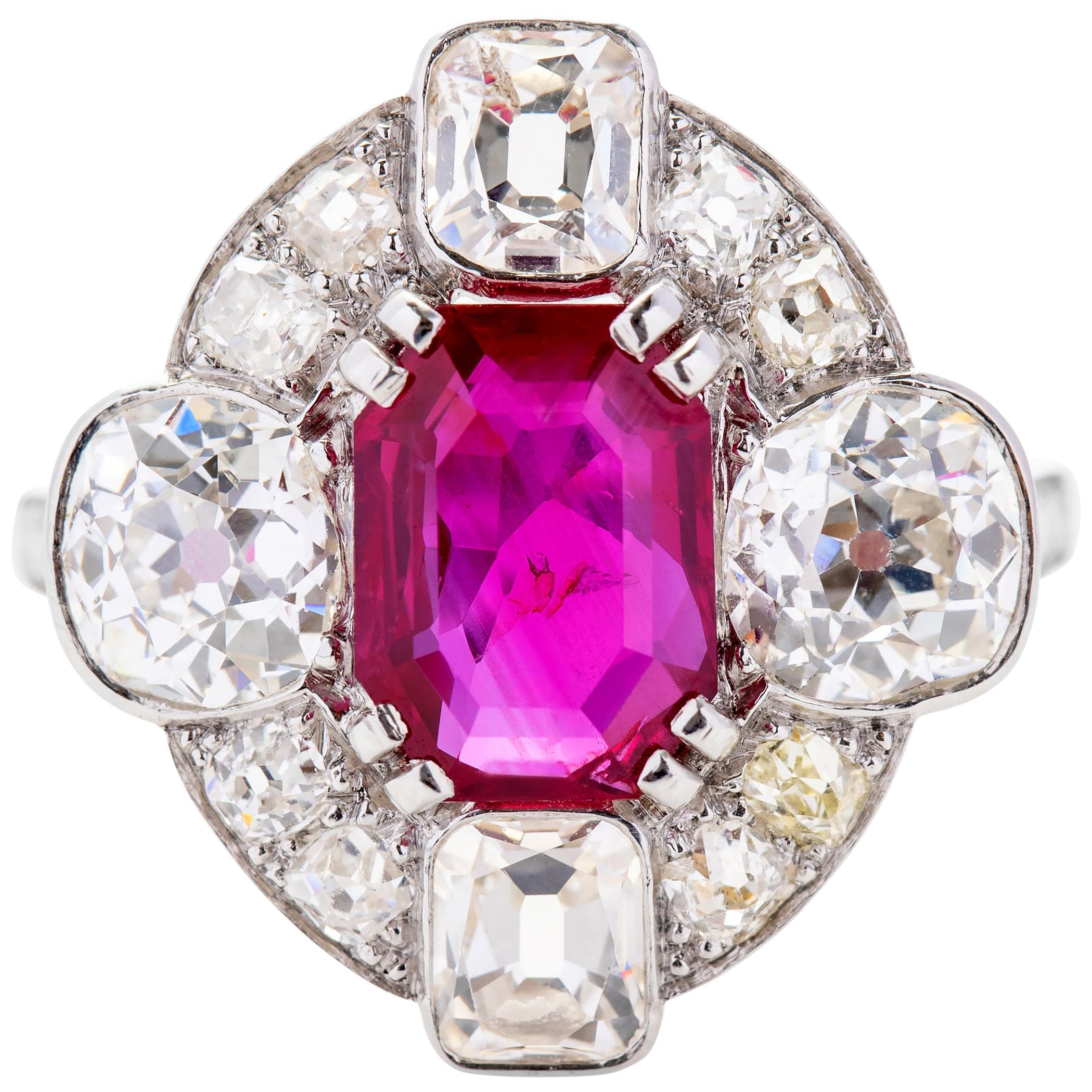 Art Deco Ruby & Diamond Ring Certified No-Heat Burmese 2.24 Carat