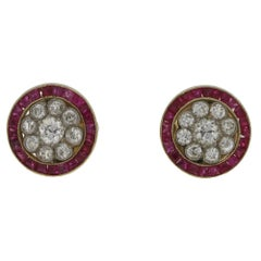 Art Deco Ruby Diamond Target Stud Earrings