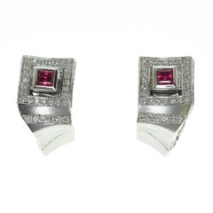 Art Deco Ruby Diamonds 18 Karat White Gold Earrings