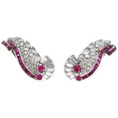 Art Deco Ruby Diamonds Geometric Design Fashion Studs Clips Earrings