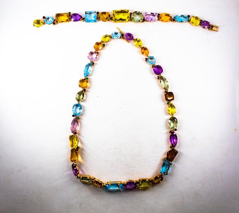 Art Deco Style Ruby Emerald Sapphire Amethyst Citrine Topaz Yellow Gold Bracelet 6