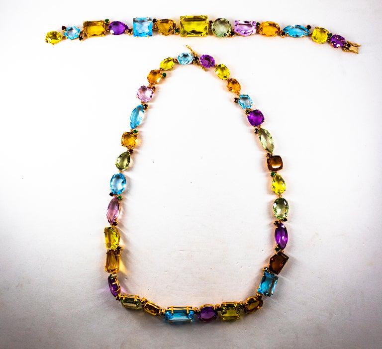 Art Deco Style Ruby Emerald Sapphire Amethyst Citrine Topaz Yellow Gold Bracelet 7