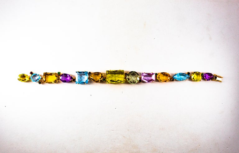 Art Deco Ruby Emerald Blue Sapphire Amethyst Citrine Topaz Yellow Gold Bracelet For Sale 9