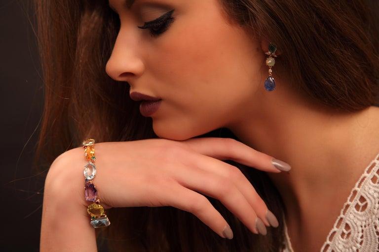 Art Deco Style Ruby Emerald Sapphire Amethyst Citrine Topaz Yellow Gold Bracelet 8