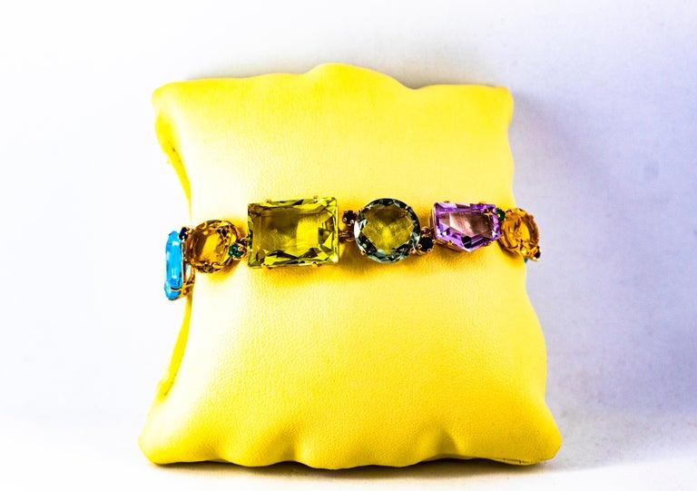 Art Deco Ruby Emerald Blue Sapphire Amethyst Citrine Topaz Yellow Gold Bracelet For Sale 13