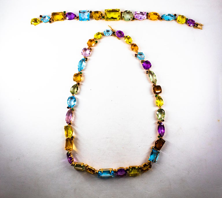 Art Deco Ruby Emerald Blue Sapphire Amethyst Citrine Topaz Yellow Gold Bracelet For Sale 14