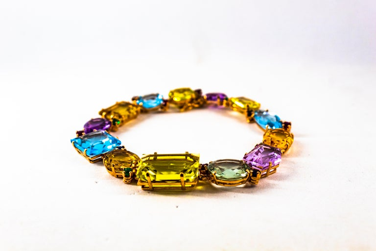 Art Deco Ruby Emerald Blue Sapphire Amethyst Citrine Topaz Yellow Gold Bracelet In New Condition For Sale In Naples, IT