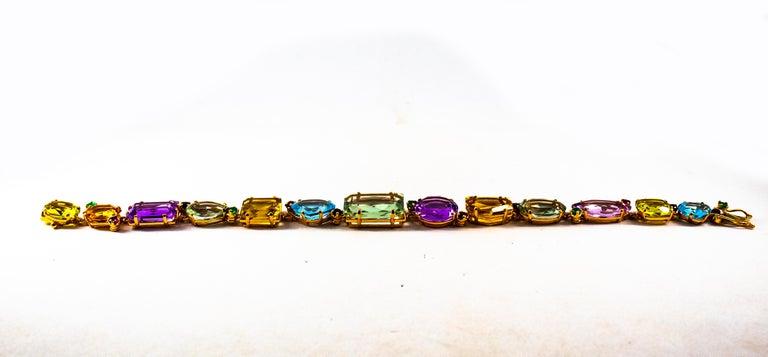 Mixed Cut Art Deco Style Ruby Emerald Sapphire Amethyst Citrine Topaz Yellow Gold Bracelet