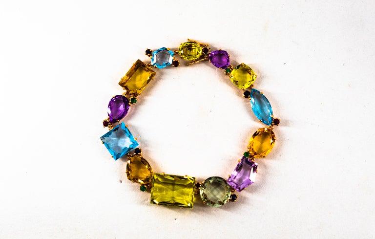 Women's or Men's Art Deco Ruby Emerald Blue Sapphire Amethyst Citrine Topaz Yellow Gold Bracelet For Sale