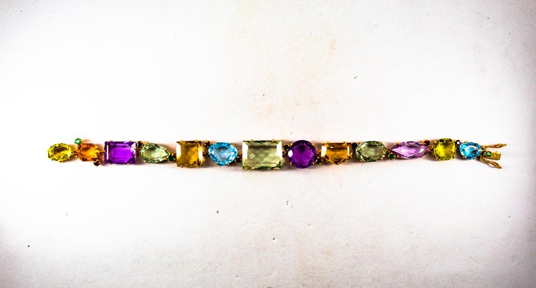 Art Deco Style Ruby Emerald Sapphire Amethyst Citrine Topaz Yellow Gold Bracelet In New Condition In Naples, IT