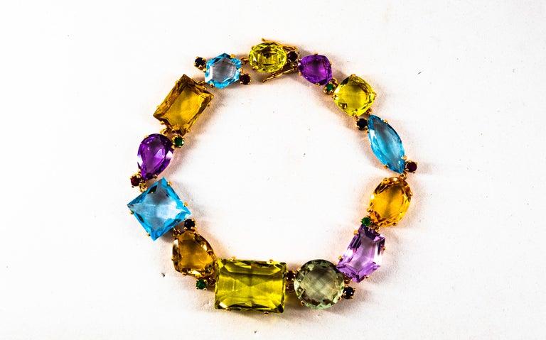 Art Deco Ruby Emerald Blue Sapphire Amethyst Citrine Topaz Yellow Gold Bracelet For Sale 1