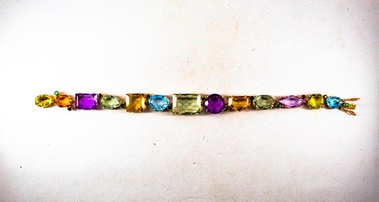 Women's or Men's Art Deco Style Ruby Emerald Sapphire Amethyst Citrine Topaz Yellow Gold Bracelet