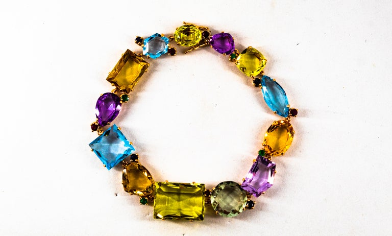 Art Deco Ruby Emerald Blue Sapphire Amethyst Citrine Topaz Yellow Gold Bracelet For Sale 2