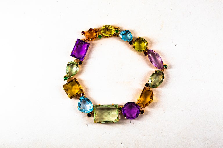 Art Deco Style Ruby Emerald Sapphire Amethyst Citrine Topaz Yellow Gold Bracelet 1