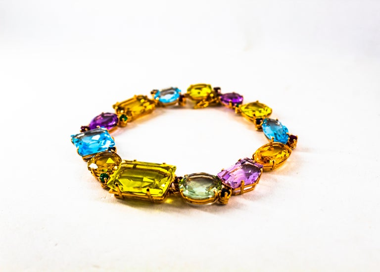 Art Deco Ruby Emerald Blue Sapphire Amethyst Citrine Topaz Yellow Gold Bracelet For Sale 3