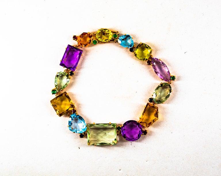 Art Deco Style Ruby Emerald Sapphire Amethyst Citrine Topaz Yellow Gold Bracelet 2