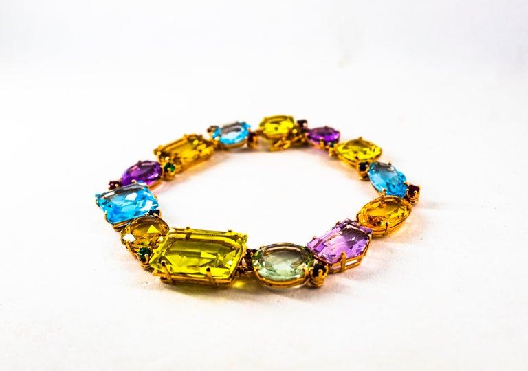 Art Deco Ruby Emerald Blue Sapphire Amethyst Citrine Topaz Yellow Gold Bracelet For Sale 4