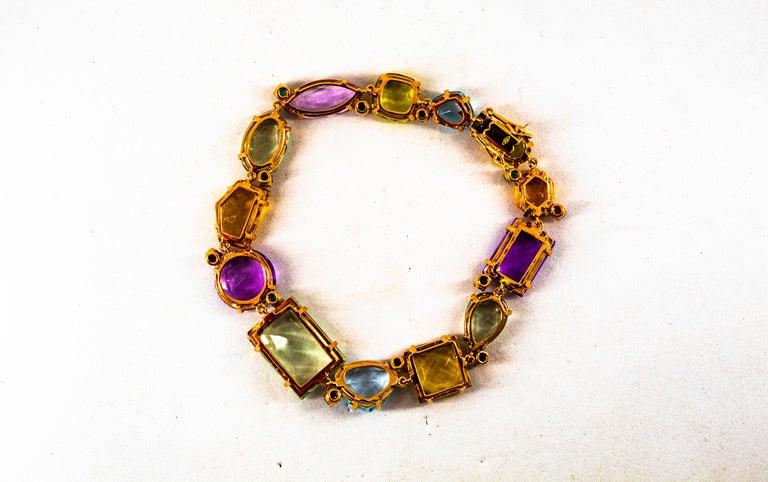 Art Deco Style Ruby Emerald Sapphire Amethyst Citrine Topaz Yellow Gold Bracelet 3