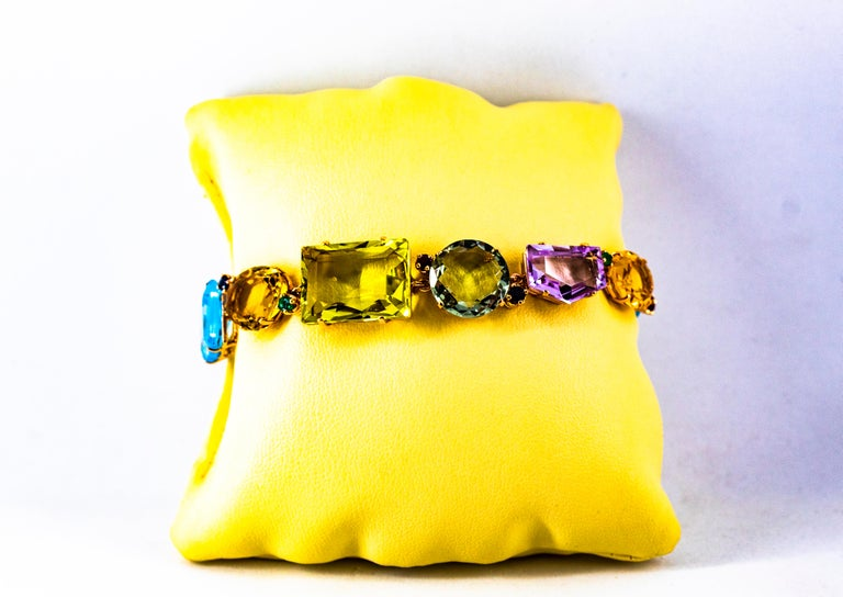 Art Deco Style Ruby Emerald Sapphire Amethyst Citrine Topaz Yellow Gold Bracelet 4
