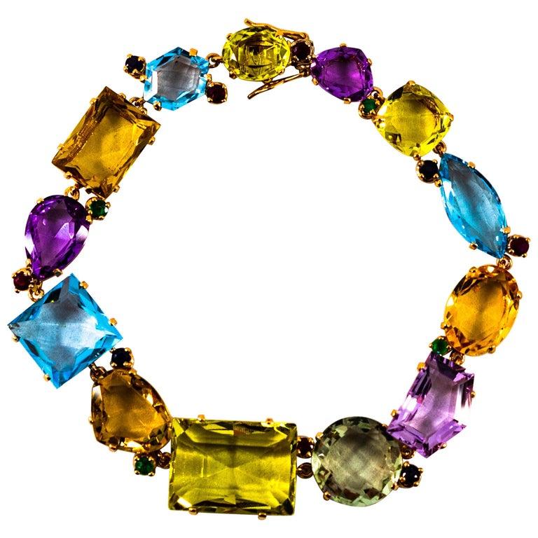 Art Deco Ruby Emerald Blue Sapphire Amethyst Citrine Topaz Yellow Gold Bracelet For Sale