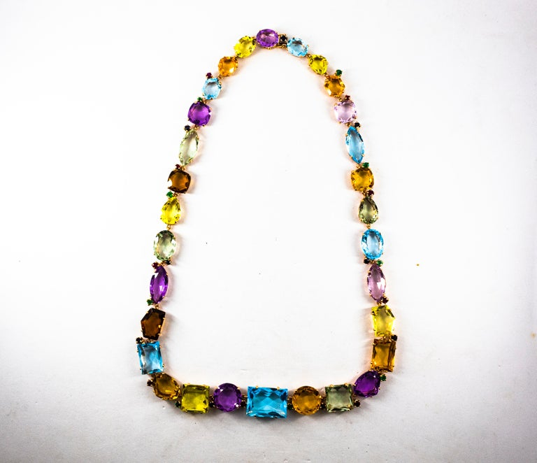 Art Deco Ruby Emerald Blue Sapphire Amethyst Citrine Topaz Yellow Gold Necklace For Sale 6