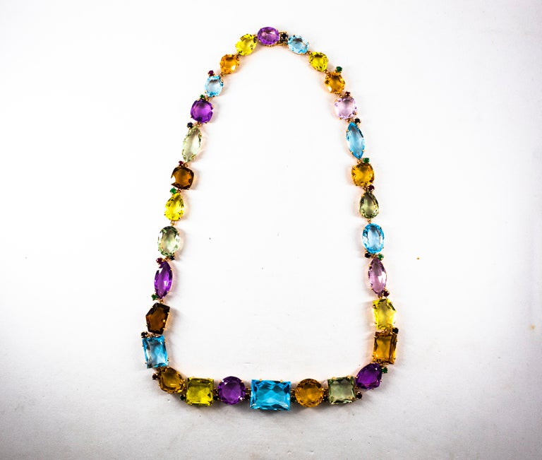 Art Deco Ruby Emerald Blue Sapphire Amethyst Citrine Topaz Yellow Gold Necklace For Sale 7